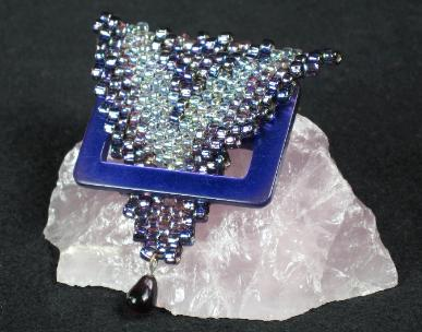 Purple Formation beaded vintage buckle pin