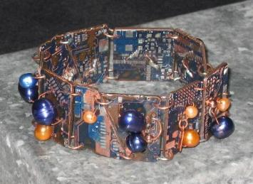 iMac blue circuit board bracelet with freshwater pearls and copper