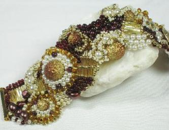 Garnet & Pearl baroque  beaded bracelet with gold, copper & bronze
