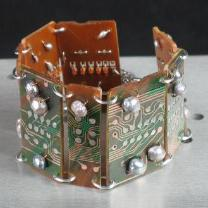 wide vintage circuit board bracelet with freshwater pearls