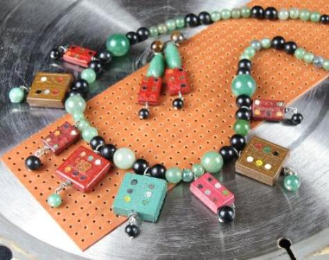 unique rare recycled vintage domino capacitor neckace and earrings