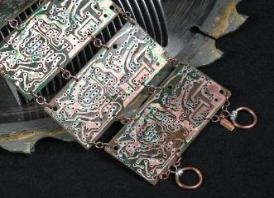 wide unisex circuit board bracelet with hand made copper toggle clasps
