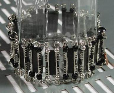 reversible Art Deco silver and black IC electronic computer parts bracelet