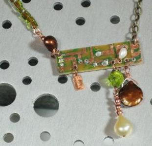 freshwater pearls and vintage circuit board pendant