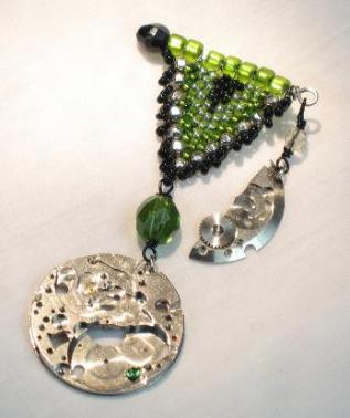 skeletonized vintage watch pendant pin with green beaded fob