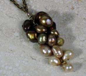 bronze Pearl Cascade necklace on antique chain