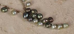 antique green Pearl Cascade necklace with pearl ornamented chain